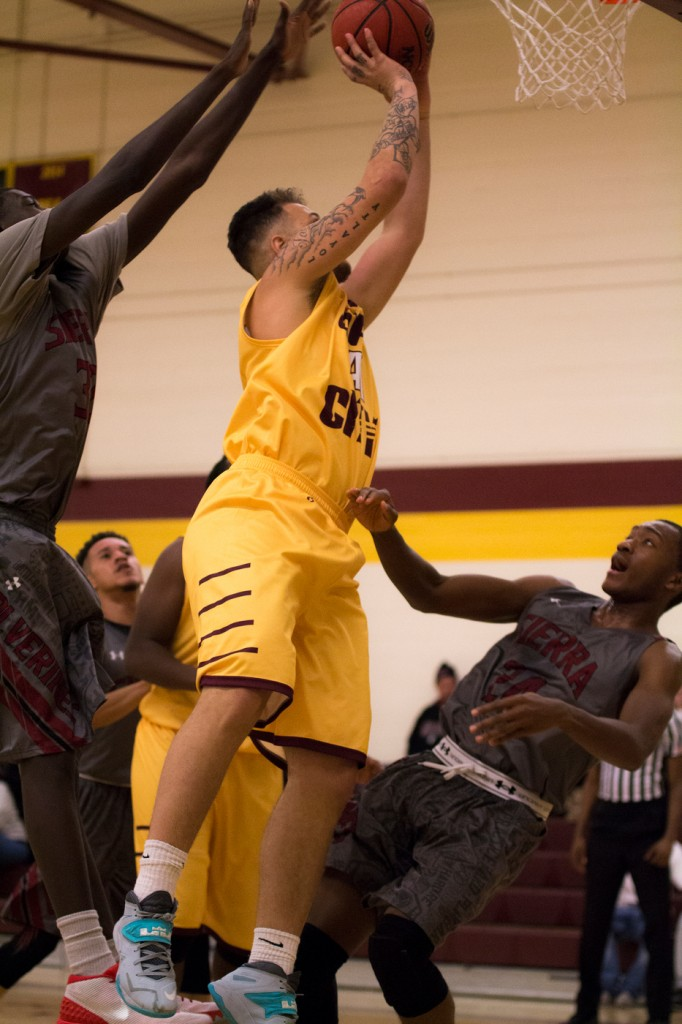 City College forward Tyler Abrego goes up for the shot during the game against Sierra College in the North Gym Jan. 5, 2016. (Photo by: Kristopher Hooks | khooks3825@gmail.com)
