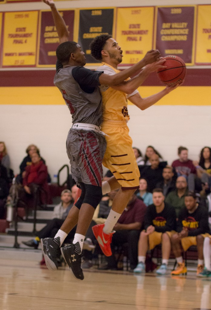 City College guard Devin Joseph drives to the basket for a layup during the game against Sierra College in the North Gym Jan. 5, 2016. (Photo by: Kristopher Hooks | khooks3825@gmail.com)