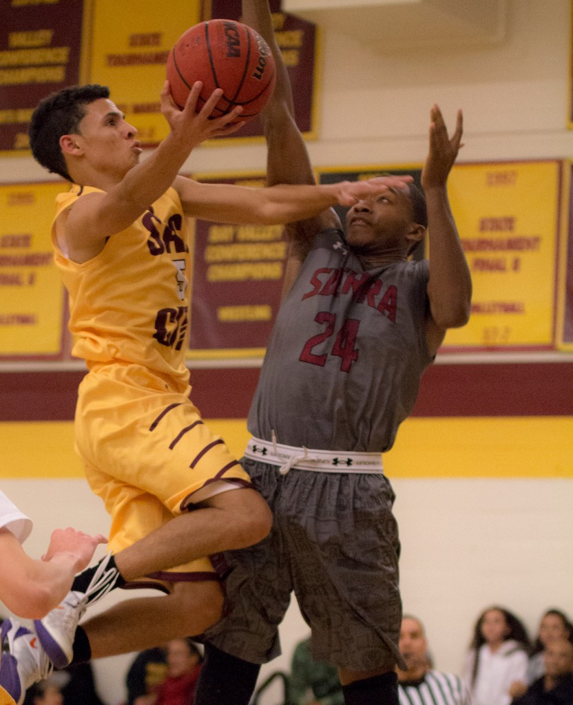 City College guard David King goes up for the contested layup during the game against Sierra College in the North Gym Jan. 5, 2016. (Photo by: Kristopher Hooks | khooks3825@gmail.com)