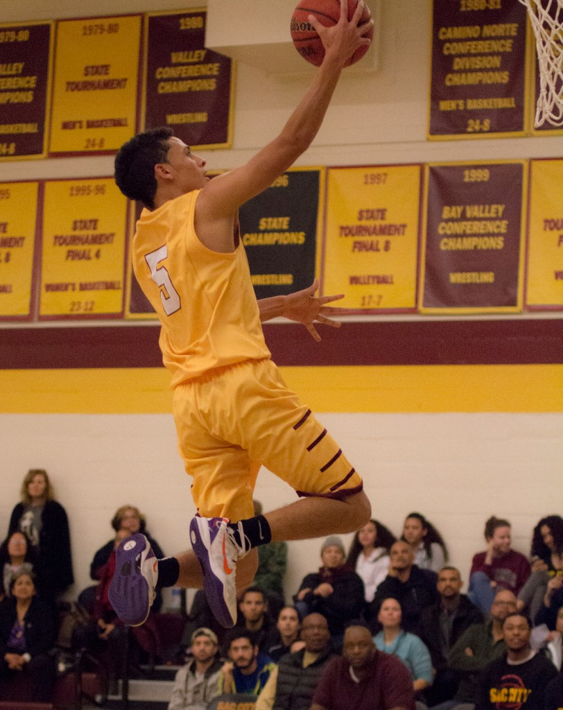 City College guard David King goes up for a layup during the game against Sierra College in the North Gym Jan. 5, 2016. (Photo by: Kristopher Hooks | khooks3825@gmail.com)