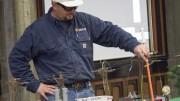 Josh Ehrhardt, SMUD worker, demostrates what happens when a person touches a transformer box. Julie Jorgensen, Photo Editor.   juliejorgensenexpress@gmail.com