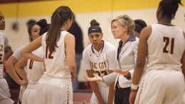 City College head coach Julia Allender talks to the team during a time out early in the third quarter in the game against Santa Rosa College in the North Gym on Jan. 22.  Photos by Dianne Rose