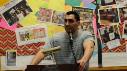 """Remi Kanazi, Palestinian-American performance poet, talking and  performing to City College students in Cultural Awareness Center about his new poetry.  The poems are from his new book called """"Before The Next Bomb Drops Rising Up From Brooklyn To Palestine."""" Feb. 24, 2016. Chris Williams, Staff Photographer. 