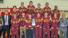 The City College wrestling team poses for its celebratory photo after defeating heavily favored Fresno City College for the state title. Photos courtesy of John Sachs · tech-fall.com