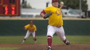 Brandon Langan, City College sophomore, comes to relieve Drake Tam on the mound in the game against Cosumnes River College College at Union Stadium on March 8. Photos by Dianne Rose.