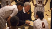 City College assistant coach Bob Roehl goes over play during a time out in the fourth quarter in the game against Delta College in the North Gym on Jan. 15th.  Photos by Dianne Rose