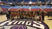 City College wrestling team gathered for a team picture after the Kings game Feb. 29. Photo by David Pacheco.