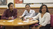 Buddhi Chaudhary (Nepal), Sam Oerun Ke (Cambodia), and Nirina Fenoarifara Randriambololona (Madagascar) talks about that problems of food and agricutlure in their home lands. April 19, 2016. Jule Jorgensen, Photo Editor. | juliejorgensenexpress@gmail.com