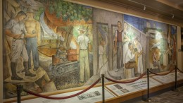 """""""The Importance of Education in Sacramento,"""" located in the Performing Arts Center, was painted by Ralph Stackpole in 1937. Photo by Vanessa S. Nelson. 