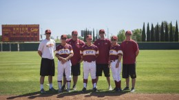 City College Panthers baseball coaching staff includes former City College students 9left) Bo Henning, Lynn Beck, Peter Pryor, Derek Sullivan, Drew Henning, Deskeheh Bomberry and Matt Surges. All work together to coach the Panthers baseball players. | Photo by Vanessa S. Nelson. vanessanelsonexpress@gmail.com