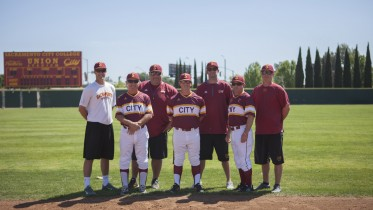 City College Panthers baseball coaching staff includes former City College students 9left) Bo Henning, Lynn Beck, Peter Pryor, Derek Sullivan, Drew Henning, Deskeheh Bomberry and Matt Surges. All work together to coach the Panthers baseball players.   Photo by Vanessa S. Nelson. vanessanelsonexpress@gmail.com