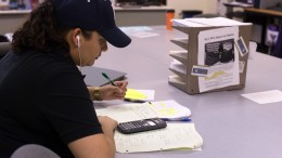 City College student Betsy Flores, civil engineering major, studies series and sequences for her calculus class in RISE. Hector Flores, Staff Photographer. | hectorfloresexpress@gmail.com