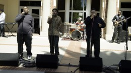 City College students Antonio Juddine, commercial music major (left), John Cook, music production major, and Quimani Brown singing in the Concert at the Quad on April 5, 2016. Tracey Benedict, Guest Photographer. |traceyb_averyh@yahoo.com