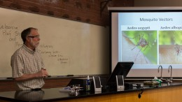 City College professor and mosquito virologist Stan Wright speaks to students about mosquito-bourne viruses in Lillard Hall on April 19, 2016. Hector Flores, Staff Photographer. | hectorfloresexpress@gmail.com
