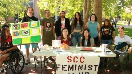 Members of the Feminist Club gather in the Quad at City College to spread awareness about issues. Photo by Reanna Simmons. | rsimmonsexpress@gmail.com
