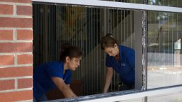 City College custodians Amy Wright and Josephine Ciddio hurry to clean up broken glass after a break-in Aug. 29 at the Student Services building some time between Sunday night and early Monday morning. Photo by Vanessa S. Nelson vanessanelsonexpress@gmail.com