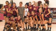 Head Coach Laurie Nash and City College's Volleyball Team in the North Gym on Sept. 7, 2016 after their victory over Shasta College to mark the 300th win of Coach Nash's tenure at City College. Photo by Brian Fox