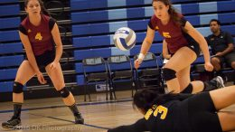 Halee Parnell, City College sophomore libero digs the ball in the third game in the Big 8 conference match against  Folsom Lake College at Folsom Gym on Sept. 16th.  ©2016 Dianne Rose
