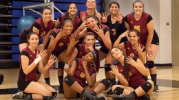 Last year's volleyball team celebrating after winning nine straight matches and defeating Folsom Lake College at Folsom Gym on Sept. 16, 2016.  ©2016 Dianne Rose