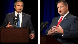 Democratic U.S. Rep. Ami Bera (L) and Republican, Sacramento County Sheriff Scott Jones in a debate for the highly competitive 7th Congressional District seat at the KVIE television studios in Sacramento, Calif. on Tuesday, October 18, 2016.  Pool photos by Jose Luis Villegas/Sacramento Bee