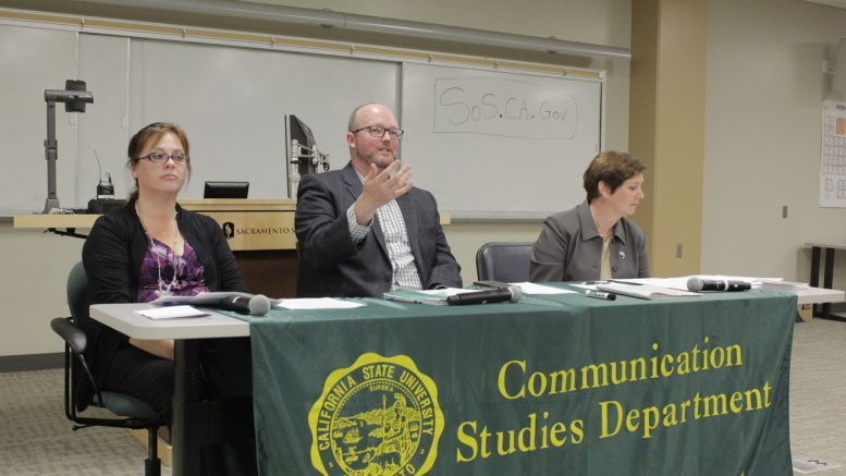 Panelists prepare for the Voter Education Forum hosted by the Hornet Debate Team in Del Norte Hall on Thursday, Oct. 12. From left, Heather Ditty from the Sacramento County department of Voter Registration and Elections, James Schwab from the Secretary of State's Office and Carol Moon Goldberg from the League of Women Voters. Photo courtesy of Joel Boland/The State Hornet
