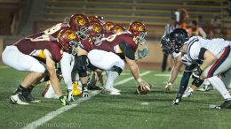 City College offence at the line in the game against Santa Rosa College at Hughes Stadium on Sept. 24th.  ©2016 Dianne Rose