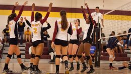 City College volleyball team reacts after winning a point in the match against American River College at the North Gym on Sept. 21st.  ©2016 Dianne Rose