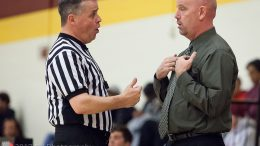 City College head coach Andrew Jones talks with ref during the game against American River College at the North Gym on Jan. 24th ©2017 Dianne Rose