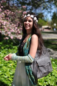 """Kiley Garcia, 19, majors in Deaf Culture. """"I wanted to wear this green skirt and just matched it with other green clothing and that's all it took for me to turn into a spring goddess!"""" Ulysses Ruiz 