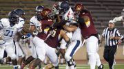 City College's Adam Mier (#66 middle), gets help from teammates Aarmon Euwing (#43) and TJ Tia Tia (#9) in the tackle of quarterback Rudy Norwood from Contra Costa College at Hughes Stadium on Sept. 8th. © 2017 Dianne Rose