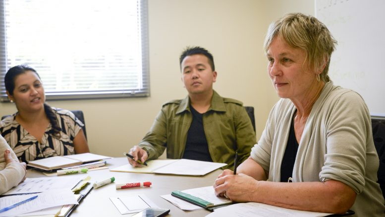 Some of the City College success coaching team, including Karin Mack (right), Lee Moua (center) and Zelene Molina. They are part of the SSSP, a program that helps students that are struggling to meet their academic goals. | Bobby Castagna | b.castagna.express@gmail.com