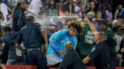A Los Rios police officer pepper sprays the crowd at a high school football game after a fight broke out in the stands at Hughes Stadium, Friday, Sept. 15. | Photo by The Sacramento Bee | Brian Baer