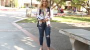 Nursing major Nikki Parmar shows off her fall apparel in the Quad. Photo by Ulysses Ruiz | Staff Photographer