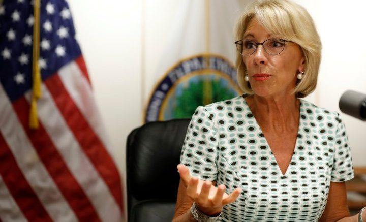 Photo via Time.com | Education Secretary Betsy DeVos speaks with the media after a series of listening sessions about campus sexual violence, Thursday, July 13, 2017, in Washington. (AP Photo/Alex Brandon)