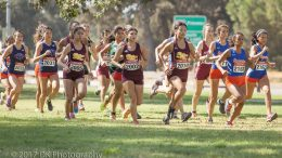 City College Women's Cross Country starts the 5k Big 8 Preview race at Oak Grove Regional Park on Sept. 15th. ©2017 Dianne Rose