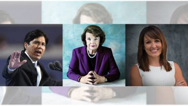 Kevin De Leon (left), Dianne Feinstein (center), Alison Hartson (right). Photo illustration by Jason Pierce | Photo Editor | jpierce.express@gmail.com
