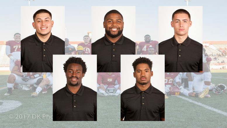 Adrian Tellez (RB)(top left),  Brandon Powell (FB)(top center), Jayden Machado (QB)(top right), Roy Sanders (FB/TE)(bottom left), Jalen Swanigan (DB)(bottom right) Photos by Dianne Rose.