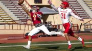 Jordan Moore (7), City College sophomore wide receiver makes the catch for a touchdown in the the first half of the Capital City Bowl against San Francisco College at Hughes Stadium on Nov. 18. ©2017 Dianne Rose