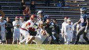 Tyson Romania (#36), City College freshman defensive back tackles College of the Siskiyous, Colby Harris (#40) in the second half of the game at Herschel Meredith Stadium on Oct. 28th. ©2017 Dianne Rose