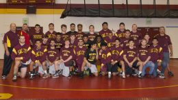 City College wrestling team   at the North Gym on Nov 11. The team qualified 10 wrestlers for the state championships and placed third overall. ©2017 Dianne Rose