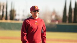 City College assistant coach Deskaheh Bomberry walks back to the dugout during the game against Canada College at Union Stadium on Jan. 28th.  ©2017 Dianne Rose