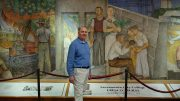 Bruce Marwick standing in front of the Fresco Mural located in the Performing Art Center. Jiaxin Lu | Staff Photographer | jlu.express@gmail.com