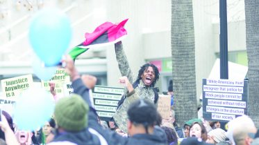 Black Lives Matter protested police and corporate sponsorship of the 37th annual March for the Dream at the Sacramento Convention Center Jan. 15 | Photo by Bobby Castagna | Photo Editor | robert.castagna@gmail.com