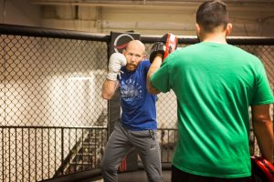 Former City College student and U.F.C. featherweight Josh Emmett, prepares for his fight Feb. 14 at Urijah Faber's Ultimate Fitness in Sacramento. Emmett will fight Jeremy Stephens Feb. 24. | Photo by Vanessa S. Nelson | vanessanelsonexpress@gmail.com