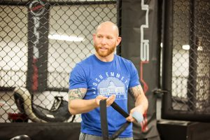 Former City College student and U.F.C. featherweight Josh Emmett, prepares for his fight Feb. 14 at Urijah Faber's Ultimate Fitness in Sacramento. Emmett will fight Jeremy Stephens Feb 24. | Photo by Vanessa S. Nelson | vanessanelsonexpress@gmail.com